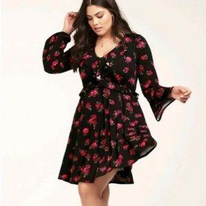TORRID Size 3 3x Black Floral Skater Dress